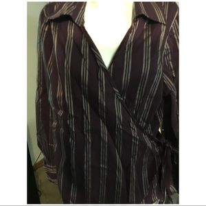 Side Wrap Tie Blouse